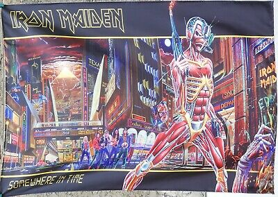 IRON MAIDEN Somewhere in Time FLAG CLOTH POSTER WALL TAPESTRY BANNER CD Metal