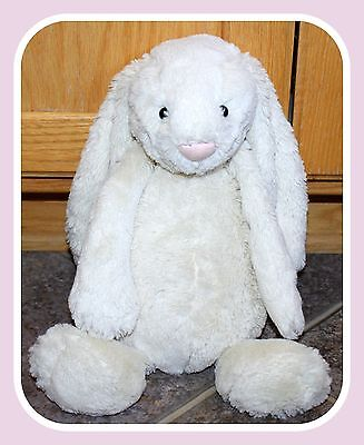 """Jellycat Off White Beige Soft Pink Easter Bunny Rabbit Plush 14"""" EUC Adorable"""