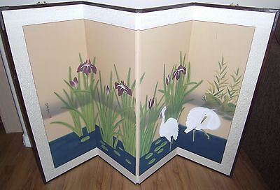 Vintage Oriental Hand Painted Silk 4 Panel Screen Room Divider wall mural Asian