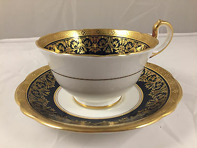 AYNSLEY KENILWORTH COBALT BLUE SCALLOPED 7023 CUP AND SAUCER MINT CONDITION Qty