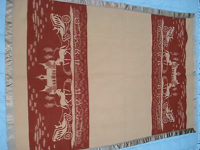 Vtg Wool Blanket Twin Size 60 X 85 Tan and Rust Horse Drawn Carriage