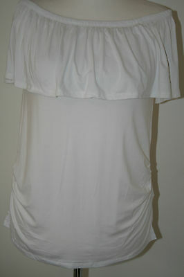 Bnwt Size 10 New Look Maternity White Stretchy Top    1039