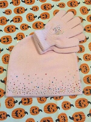 Girls Capelli Kids pink  snow Hat and Gloves Set NWT sparkles