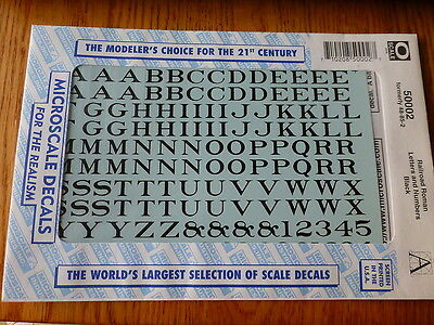 Microscale Decal #50002 Railroad Roman Letters & Numbers Black (O Scale)