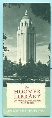 California Standford University The Hoover Tower Library 1941 Brochure War Peace