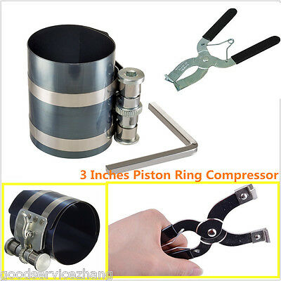 Universal 2pc Piston Ring Installer Compressor & Remover Set Band Pliers Ratchet