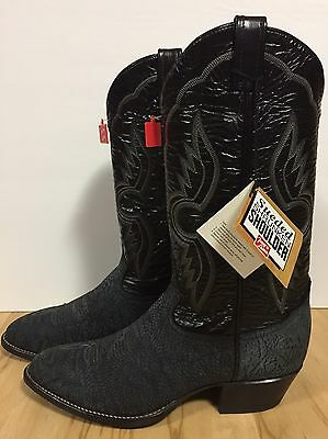 Tony Lama Black Leather With Suede Foot Cowboy/Western boots - Men's 9D - NIB