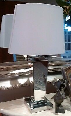 lamp mirrored base with white shade