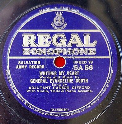 Evangeline Booth Salvation Army Songs Recorded On A Huge 78Rpm Record