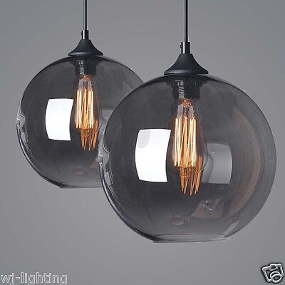 Vintage Retro LOFT Grey Glass Shade Ceiling  LED Pendant Lamp Light Chandelier