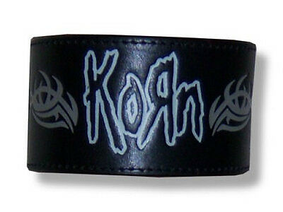 Korn - Black Leather Embossed Wrist Band - New Small/med