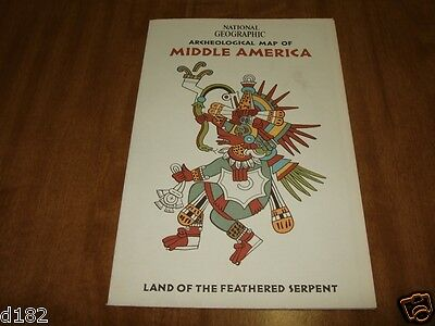 National Geographic Archeological Map Of Middle America 1968 Feathered Serpent