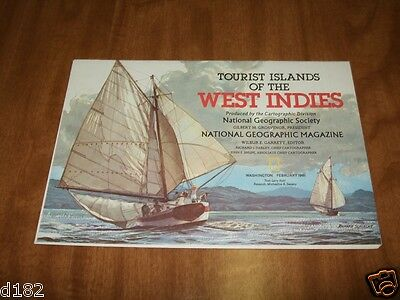 National Geographic Map Tourist Islands Of The West Indies 1981