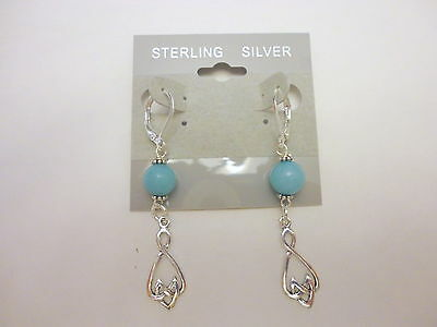 Handcrafted Celtic Drop Earrings Sterling Silver With Amazonite