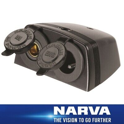 Narva HDRV Power Heavy-Duty 12/24V Twin Surface Mount Merit/Engel Sockets 81166B