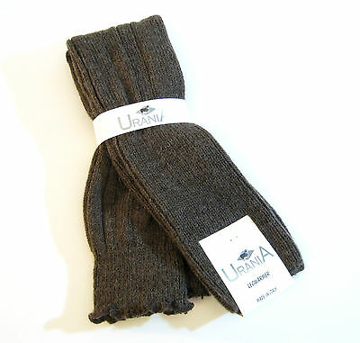 Urania Italy Wool Blend Leg Warmers Rib Bark Brown - NEW