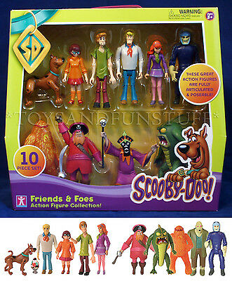 NEW - Scooby Doo FRIENDS & FOES 10 Action Figures GHOST RACER Redbeard VILLAINS