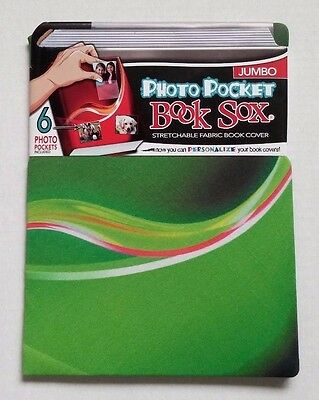 Book Sox Photo Pocket Stretchable Fabric Book Cover Green Jumbo NEW