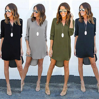 USA Women Blouse Chiffon Long Sleeve Ladies T Shirt Casual Short Dress Tops