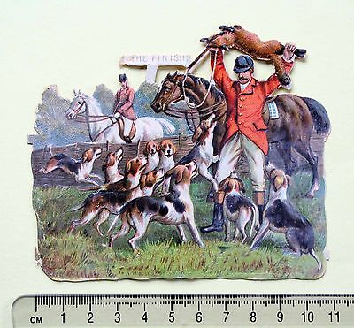 Victorian Die Cut Embossed Scrap Hunting Fox Hounds Hunter Finish 11 X 9.5 Cm