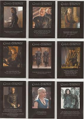 Game of Thrones Season 3 - 9 Card Quotable Chase Card Set Q21 - Q29