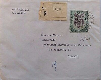 Libya 1963 Registered Cover To Italy With Single 100 Mills Stamp