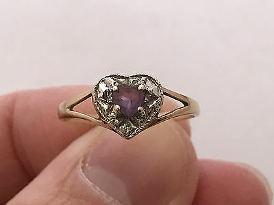 9ct Gold Amethyst and Diamond Ring. UK Size: P