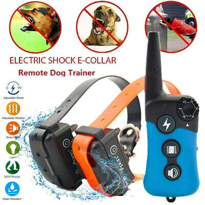 iPets 330Yard Dog Pet Shock Training Hunt Collar Rechargeable Remote For 1/2 Dog