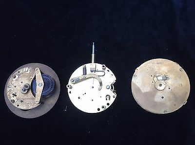 Three Round  Clock Mechanisms For Parts Or Repair