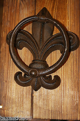 (1) Pc, Vintage Look, Fleur De Lis Door Knocker, Cast Iron, Fleur De Lis Decor