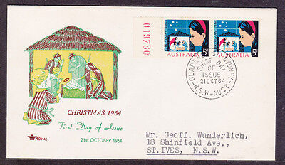 1964 5d  CHRISTMAS NATIVITY PAIR OF STAMPS FDC