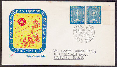 1963 5d BLUE CHRISTMAS  PAIR OF  STAMPS FDC
