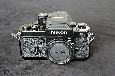 Nikon F2As Black Body. Near Mint, With  Nikon Leather Case, Instructions Too.