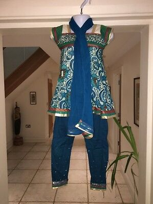 Blue and Gold Indian Asian Outfit For Girls Age 1-2 Years Kids
