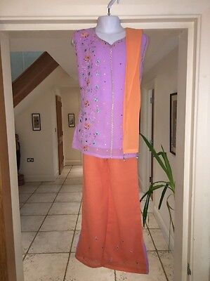 BN Peach And Orange Indian Asian Outfit For Girls Age 6-7 Years Kids Size 30