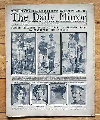 Ww1 Daily Mirror March 13 1917 Russian Prisoners Bound To Trees In Germany
