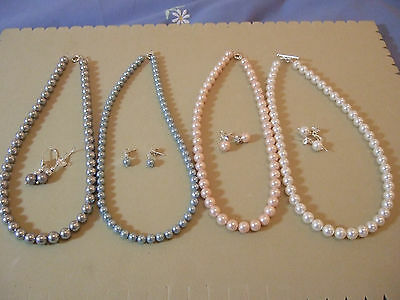 Shell Pearl Necklace and Earring Sets with Sterling Silver Clasps & Findings