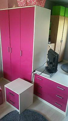 Childrens pink and white wardrobe,chest of drawers,bedside table