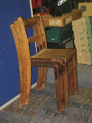 3  VINTAGE MID CENTURY INDUSTRIAL / SCHOOL style LARGE WOODEN CHAIRS