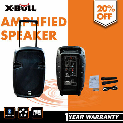 X-BULL 12 Inch 200W Speaker Boxes with Microphone&Battery Black