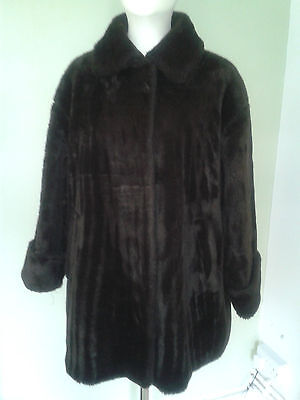 New Look Faux Fur Coat Dark Brown Size 12 -14 Fully lined