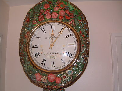 Wall Clock, French,Weight driven,chimes, Comtoise, Louis Jaquine,St,Eteinne.