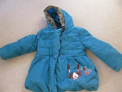 M&S Girls teal padded/quilted coat Age 4-5 years - embroidered fleece lined