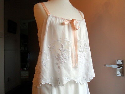 Antique Art Deco Wedding Camisole - Fabulous Hand Done Embroidery - 1920 / 1930s