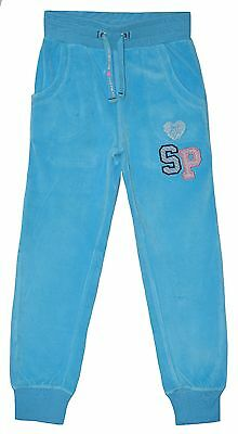 "Girl ""sugar Pink"" Turquoise Velour Joggers Joging Pants Trousers 5-6 Yrs"