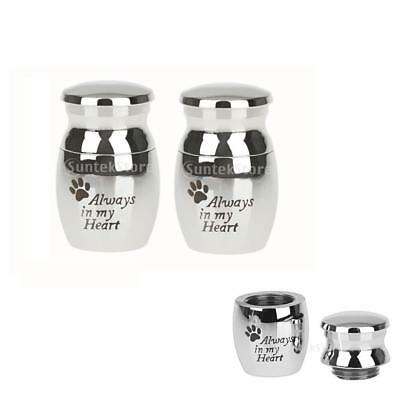 2pcs Always in my Heart Paw Cremation Memorial Urn Pendant for Dog Cat Pet