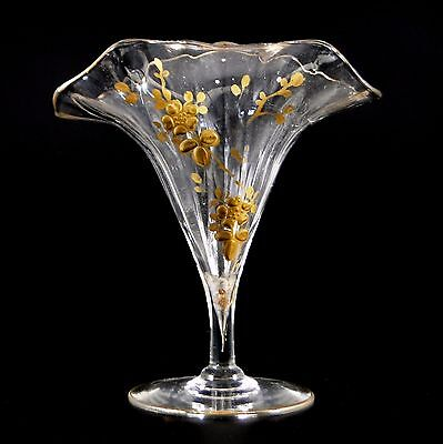 Very Pretty Victorian Fluted Glass Gilt Embossed Vase