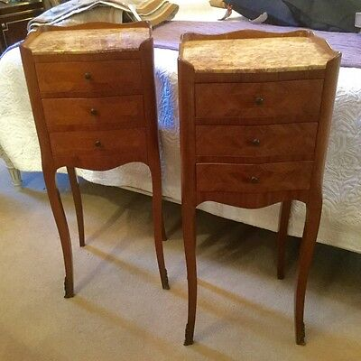 Pair of French Marquetry Bedsides or Sofa Sides      a13898