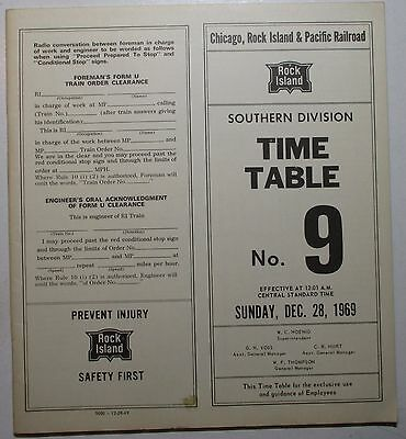 Rock Island Railroad 1969 Employee Timetable   -  Southern Division