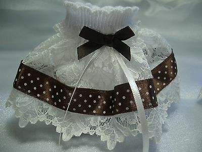 NEW* Girls Hand Crafted Socks white With Brown & Ivory Embellishments 3.5 - 5